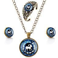 Lureme® Time Gem The Zodiac Series Vintage Capricorn Pendant Necklace Stud Earrings Hollow Flower Bangle Jewelry Sets