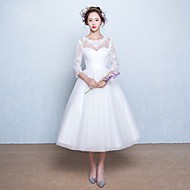 A-line Wedding Dress Tea-length Jewel Lace / Tulle with Appliques / Bow
