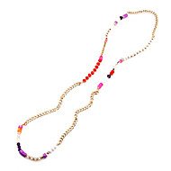 2016 new color crystal jade beaded long sweater chain necklace rose gold gilded