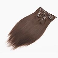 ראש מלא קליפ תוספות שיער אדם 70g שיער שחור טבעי / 7pcs קליפ שיער ברזילאי בתולה ישר רחבות