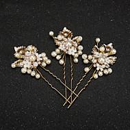 Mujer Niña de flor Aleación Perla Artificial Resina Celada-Boda Ocasión especial Pasador de Pelo 2 Piezas