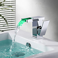 Contemporary Deck Mounted LED / Waterfall with  Ceramic Valve Single Handle One Hole for  Chrome , Bathroom Sink Faucet
