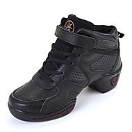 Scarpe da ballo-Non personalizzabile-Da donna-Sneakers da danza moderna-Quadrato-Di pelle-Nero