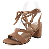 Women's Shoes Suede Chunky Heel Gladiator Sandals Dress / Casual Black / Brown