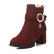 נעלי נשים-מגפיים-פליז-עקבים / מעוגל / מגפי אופנה-שחור / חום / אדום / בורגונדי-משרד ועבודה / שמלה / קז'ואל-עקב עבה