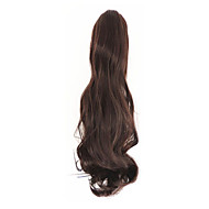 lockigt mörkbrun syntetisk lång lockigt hår klo klipp peruk hästsvans