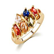 Mixed Color Multicolored Color Zircon Rhinestones Couple Gold Rings
