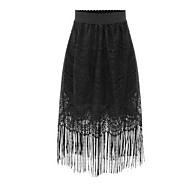 Women's Patchwork Tassels Lace All Match Sweet Fashion Plus Size Skirts,Vintage / Street chic Midi
