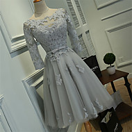 Cocktail Party Dress Ball Gown Scoop Knee-length Lace / Tulle with Lace / Sash / Ribbon