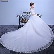 Ball Gown Wedding Dress Cathedral Train Off-the-shoulder Lace / Satin / Tulle with Lace