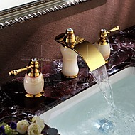 Waterfall Two Handles Three Holes in Ti-PVD Bathroom Sink Faucet Luxury Deck Mounted