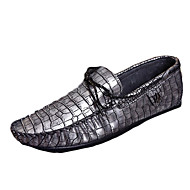 Men's Flats Spring / Fall Moccasin / Comfort PU Casual Flat Heel Others Black / Blue / Brown / Silver / Gold Walking
