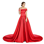 Formal Evening Dress - Plus Size / Petite A-line Off-the-shoulder Court Train Satin