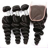 Trama do cabelo com Encerramento Cabelo Peruviano Ondulado tece cabelo