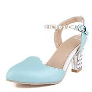 נעלי נשים-סנדלים-דמוי עור-עקבים / מעוגל-כחול / ורוד / לבן-משרד ועבודה / שמלה / מסיבה וערב-עקב עבה