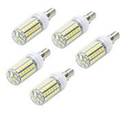 5pcs E14 10W 1000LM 6500K/3000K  69-5050 SMD Warm/Cool White Light LED Corn Bulb (AC 220~240V)