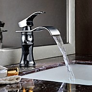 Bathroom Waterfall Widespread Basin Sink Faucet Chrome Polish Single Handle Single Hole Mixer Tap Deck Mount