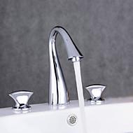 Widespread Three Holes Double Knobs Gooseneck Bathroom Faucet Chrome