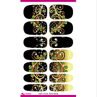 Prijevoz vode za nokte folije naljepnica crni san paunovim perjem noktiju oblozi naljepnicu elegantan