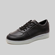 Women's / Men's Spring / Summer / Fall Round Toe Leatherette Outdoor / Casual / Athletic Flat Heel Lace-up Black / White