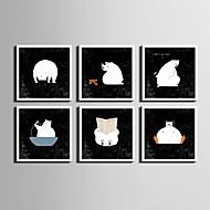 בעלי חיים / אנימציה קאנבס ממוסגר / סט ממוסגר וול ארט,PVC לבן אין משטח עם מסגרת וול ארט