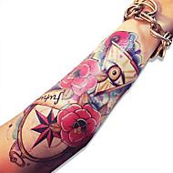 cráneo cuerpo resistente al agua flores color de rosa gráfico transferencia falsa atractiva tatuaje temporal