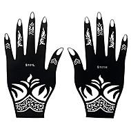 2stk Henna Indisk Svart Sjablong Midlertidig Tatovering Kropps Hånd Kunst Airbørste Maleri Klistremerke S101