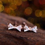 High Quality 925 Sterling Silver Bowknot Stud Earrings Round Rhinestone Zircon For Vintage Women Fashion Crystal Jewelry