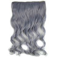 20 polegadas 5 clipes em cinza onda do corpo de extensão de cabelo sintético avó
