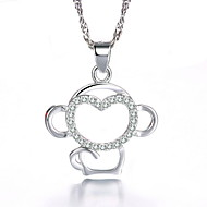 Cute Slide Lovely Small Monkey Pendant Real 925 Silver Necklace Full of Rhinestone Charms Women Jewelry
