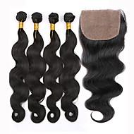 Trama do cabelo com Encerramento Cabelo Peruviano Onda de Corpo 12 meses 5 Peças tece cabelo