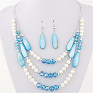 European Style Fashion Wild Bohemian Mix and Match Multilayer Pearl Shell Necklace Earrings Set