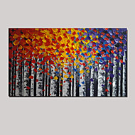 handgemaltes Ölgemälde Birke Landschaft Messer dick Textur Home-Office-Dekor mit gestreckten Rahmen