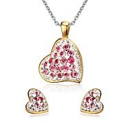 Smykkesett Imitasjon Diamant Rustfritt Stål Strass Hjerte Mote Hjerte Formet Rose Smykke Sett Fest Daglig Avslappet 1 SettHalskjeder