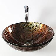 Zeitgenössisch T19*Φ425*H150MM Rundförmig Sink Material ist HartglasWaschbecken für Badezimmer / Armatur für Badezimmer / Einbauring für