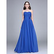 Lanting Bride® 바닥 길이 쉬폰 신부 들러리 드레스 시스 / 칼럼 끈없는 스타일 와 플라워 / 크리스 크로스