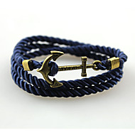 Women's Men's Couple's Bangles Wrap Bracelet Handmade Fashion Alloy Anchor Black Yellow Green Blue Black/White Jewelry ForDaily Casual