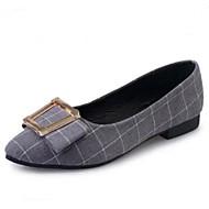 naisten kengät kangas latticed mukavuutta / teräväkärkiset kengät asuntoja toimisto&ura / rento matala kantapää musta / harmaa