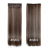 24inch 60 centímetros # 12/613 longo grampo de cabelo em linha reta em extensões do cabelo postiços sintéticos para mulheres bonitas