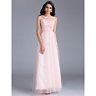 Prom / Formal Evening / Holiday / Family Gathering Dress - Floral / See Through / Lace-up A-line Bateau Floor-length Tulle withBeading /