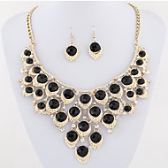 Women's European Style Fashion Sweet Shiny Rhinestone Metal Droplets Exaggerated Necklace Earrings Set