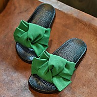 Unisex Summer Open Toe / Slippers Silk Casual Flat Heel Bowknot Black / Green / Pink