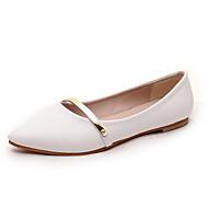 נעלי נשים-שטוחות-עור פטנט-נוחות / שפיץ-שחור / ורוד / לבן-משרד ועבודה / קז'ואל-עקב שטוח