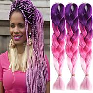 """aubergine rosa rosa ombre hekle 24"""" yaki Kanekalon fiber 3 tone 100g jumbo fletter syntetisk hår"""