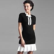 Baoyan® Damen Rundhalsausschnitt Kurze Ärmel Midi Kleid-160178