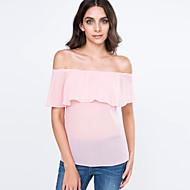Mulheres Camiseta Casual Sensual Verão,Sólido Rosa / Branco Algodão Decote Canoa Manga Curta Fina