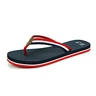 Women's Summer Flip Flops Canvas Casual Chunky Heel Black / White