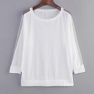 Women's Batwing Round Neck Sheer Mesh Cape Sleeve Loose T-Shirt
