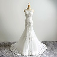 Trumpet / Mermaid Wedding Dress Sweep / Brush Train Scoop Tulle with Appliques / Beading