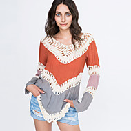 Women's Patchwork Hollow Out Print Loose Round Neck Long Sleeve Blouse